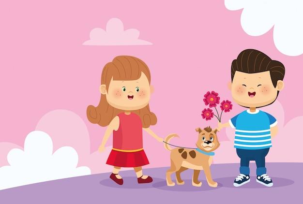 Мальчик дарит цветы счастливой девочке с милой собакой
