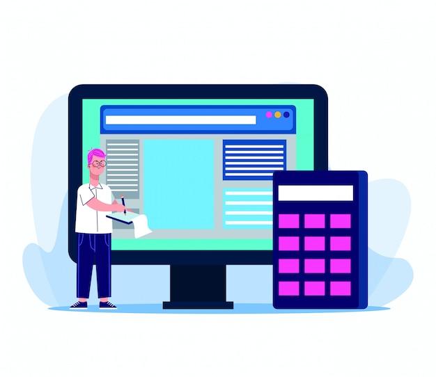 コンピューターと白の電卓を持つ漫画男
