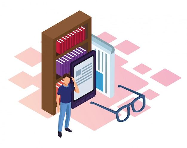 本棚、電子ブックデバイス、白の上に立っている人