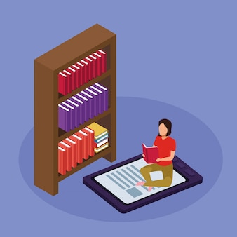 本棚、紫色の電子ブックデバイスに座って読んでいる女性