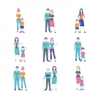 Набор иконок из мультфильма людей, стоящих с детьми