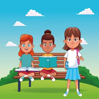 ベンチと立っている女の子の上に座って本で漫画幸せな女の子