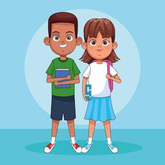 漫画の男の子と女の子が立っています。