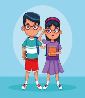 漫画の男の子と女の子が立っているメガネ