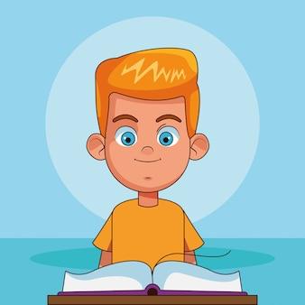 Мультяшный блондин с открытой книгой