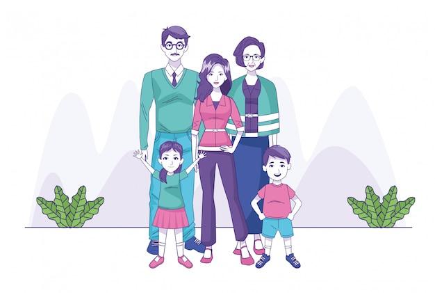 Старая пара с женщиной и маленькими детьми