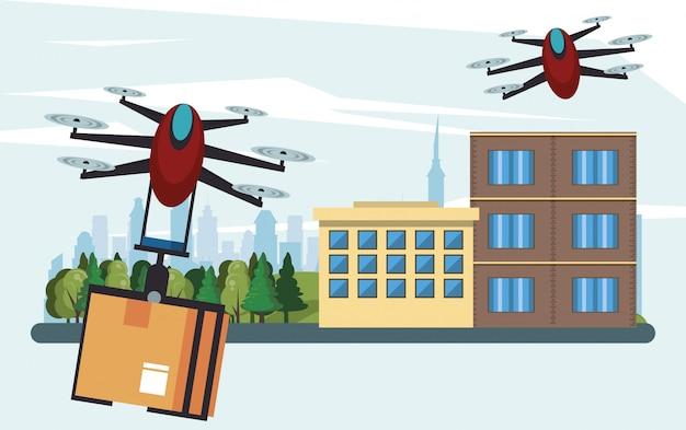 街の箱で飛んでいるドローン技術