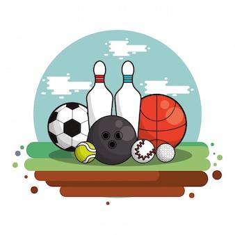 Комплект спортивного инвентаря изолирован
