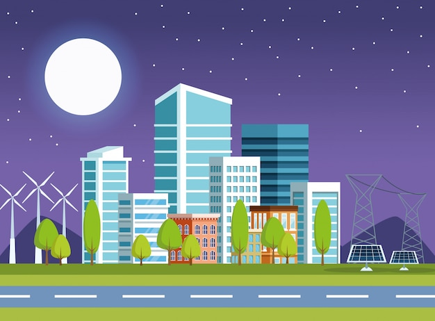 夜の街並みシーンでの建物とソーラーパネル