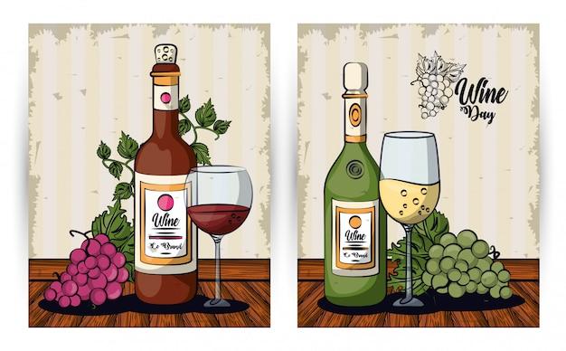Винные чашки и бутылки с виноградом фрукты векторная иллюстрация дизайн