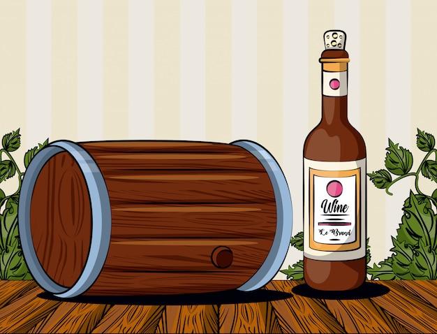 Винная бочка напиток с бутылкой векторная иллюстрация дизайн