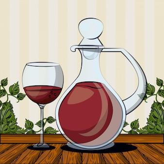 カップベクトルイラストデザインとワインの瓶ドリンク