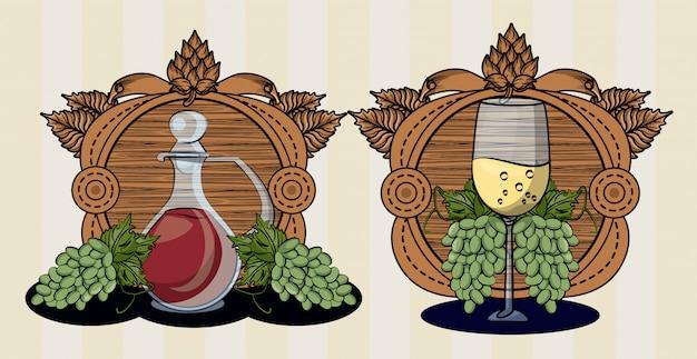 Винная бочка напиток с чашкой и виноградом векторная иллюстрация дизайн