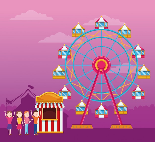 Счастливые люди рядом с билетной кассой на колесе обозрения и колесом обозрения над фиолетовым