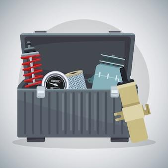 Ящик для инструментов с деталями двигателя автомобиля