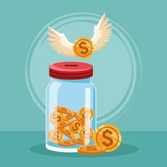 お金のコインと翼を持つコインのボトル