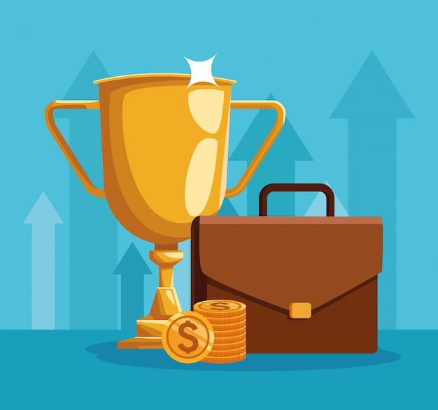 Трофей кубок с портфелем и деньги монеты на синем