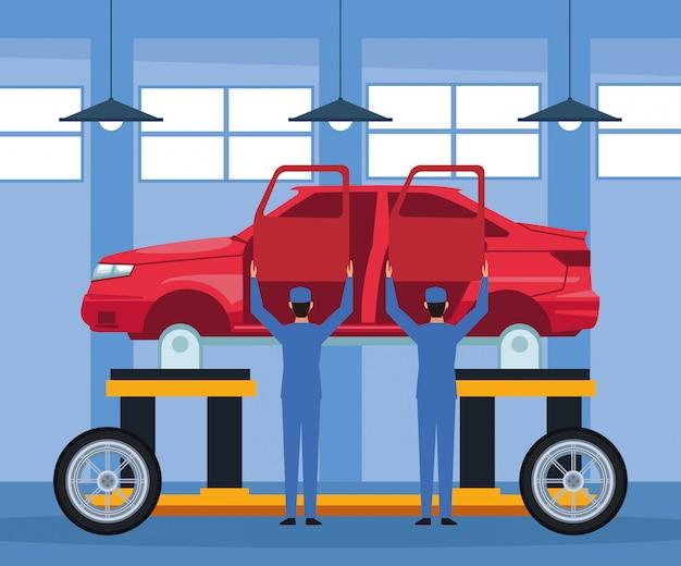 持ち上げられた車体とドアを保持しているメカニックと車修理店の風景