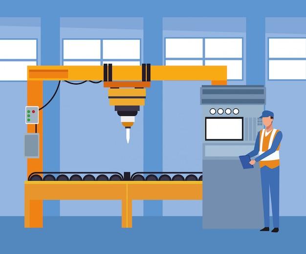 Авторемонтная мастерская декорации с ремонтными машинами и слесарем стоя