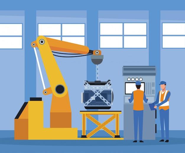 Авторемонтная мастерская с ручным промышленным механизмом, держащим надзор за двигателем и механикой