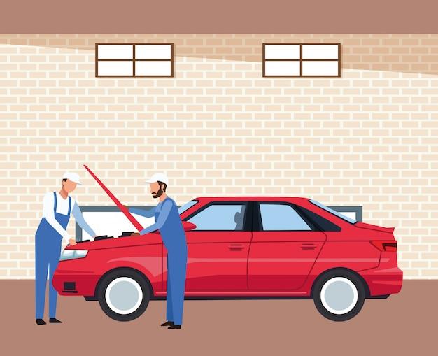 赤い車を修理するメカニックと車のワークショップの風景