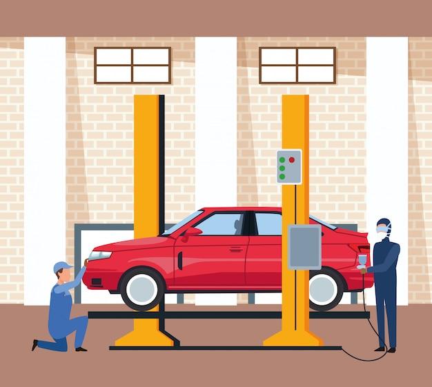 Авто мастерская пейзаж с поднятым автомобилем и человек, окрашивающий красный