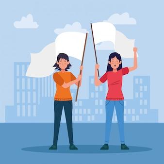 都市の建物に白い旗を持って抗議している漫画の女性