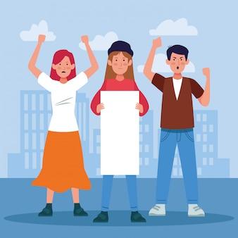 若い女の子と男の子が抗議し、空白のポストを保持