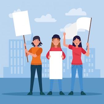 空白記号と白い旗を持って抗議している漫画若い女性