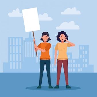 空白記号を保持して抗議している漫画の女性