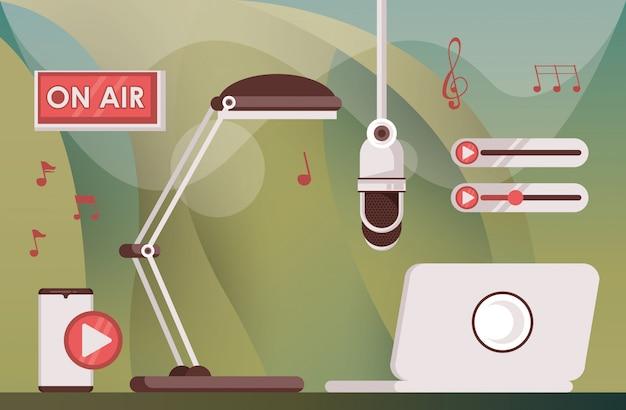 ノートパソコンとラジオのアイコンとレトロなマイク