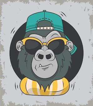Смешная горилла с солнцезащитными очками классного стиля