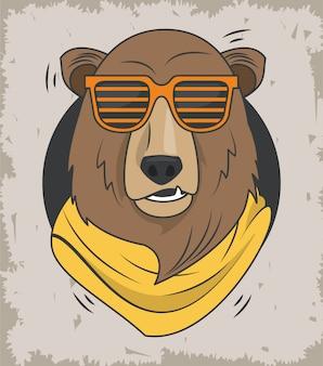 Забавный медведь гризли с очками классный стиль