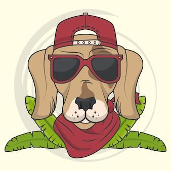 Смешная собачка с солнцезащитными очками классного стиля