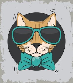 Забавный котик в солнечных очках классного стиля