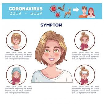 症状女性文字ベクトルイラストデザインとコロナウイルスのインフォグラフィック