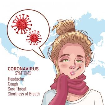 病気の女性キャラクターベクトルイラストデザインとコロナウイルスのインフォグラフィック