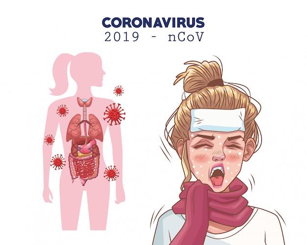 病気の女性キャラクターとコロナウイルスのインフォグラフィック