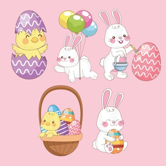 Счастливая пасхальная открытка с группой птенцов и кроликов