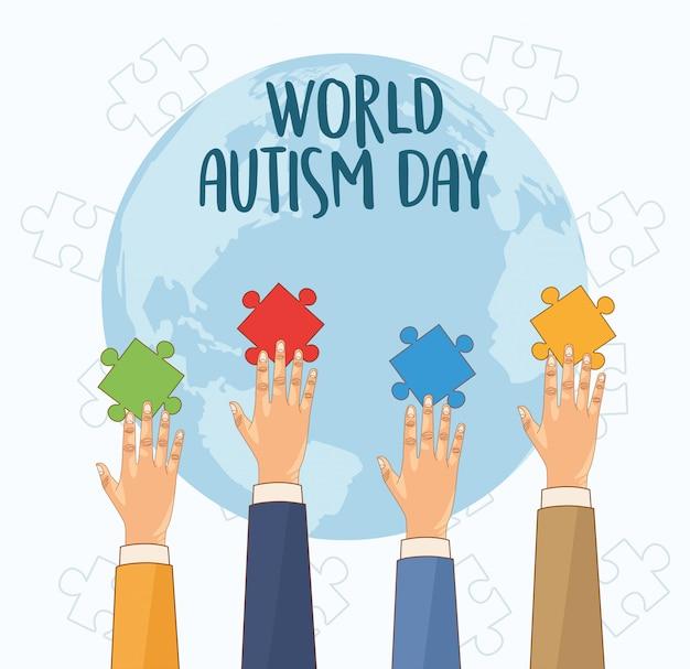 パズルをプレイする手で世界自閉症の日