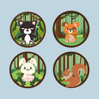 Милая группа животных в ландшафте сцены векторные иллюстрации дизайн