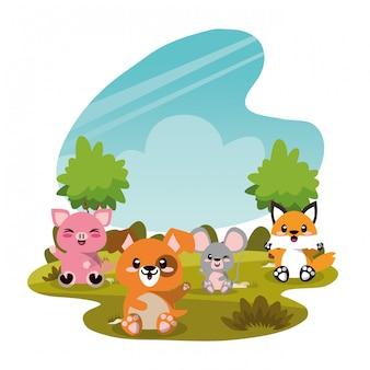 Группа милых животных в пейзажной сцене