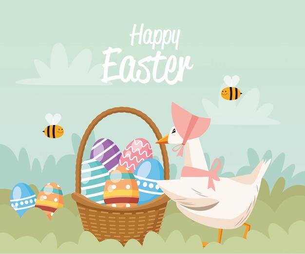 Пасхальная открытка с уткой и яйцами в корзине