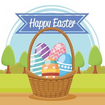 Счастливой пасхи сезонная открытка с яйцами окрашены в корзину