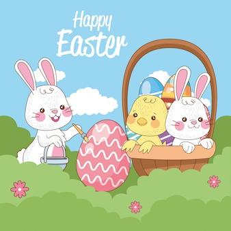 Счастливая пасхальная сезонная открытка с кроликами и маленьким птенцом в лагере