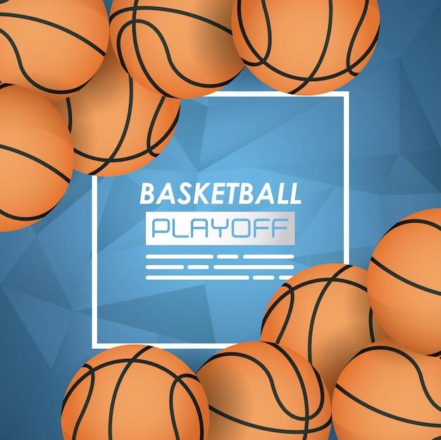Баскетбольный спортивный плакат с воздушными шарами