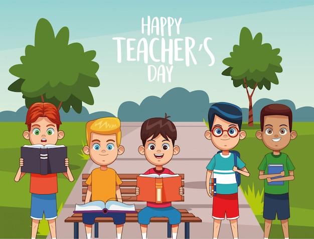 通りの学生との幸せな教師の日カード