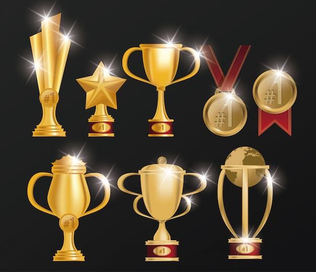 トロフィーとメダルの賞のセット