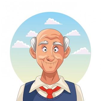 Старик пациент с болезнью альцгеймера