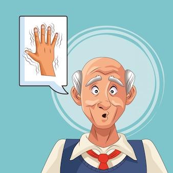 Старик пациент с болезнью альцгеймера думая рука